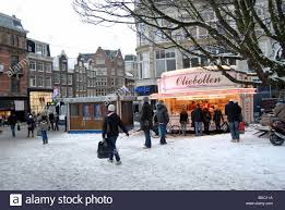 An oliebollen cart in winter.