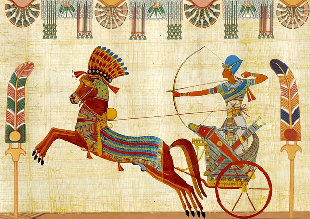 A painting of an ancient Egyptian drawing his bow while riding a chariot drawn by a horse.