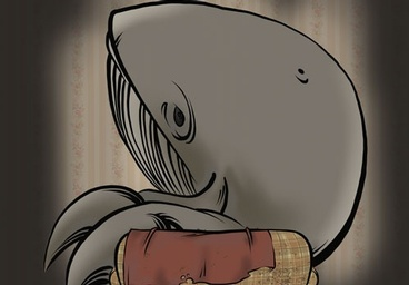 Cartoon image of a whale on a beat-up couch.
