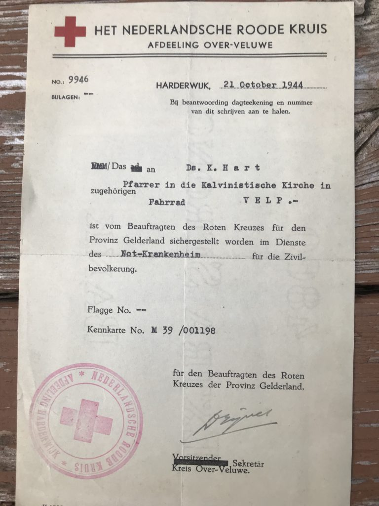 Permission from the Red Cross to go out after air raids to help anyone who needed help. October 21, 1944. German.