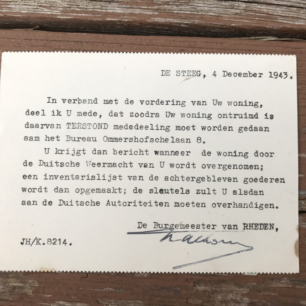 Note from the mayor informing them that the Germans want their house, so they have to move. December 4, 1943