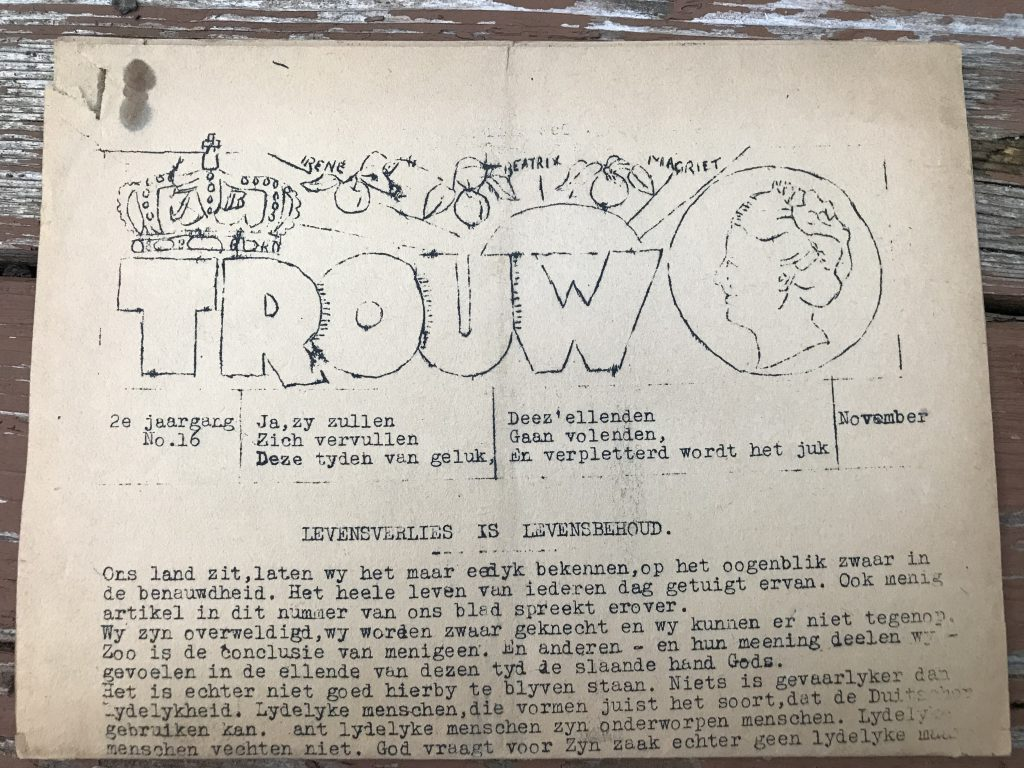 A very early edition of Trouw, the newspaper of the resistance.